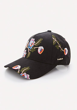 bebe Embroidered Flower Cap