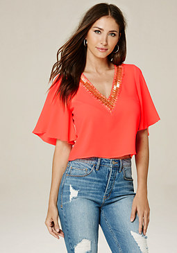 bebe Farah Embellished Top