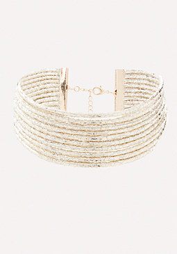 bebe Metallic Rows Choker