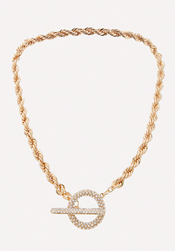 bebe Rope Chain Toggle Necklace