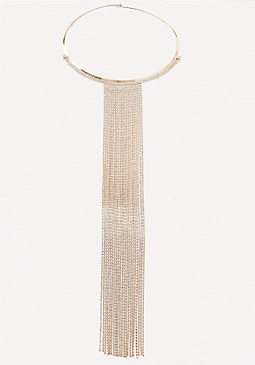 bebe Glam Fringe Collar Necklace