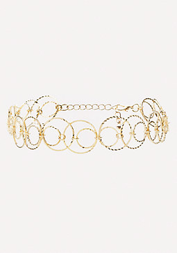 bebe Interlocking Circles Choker