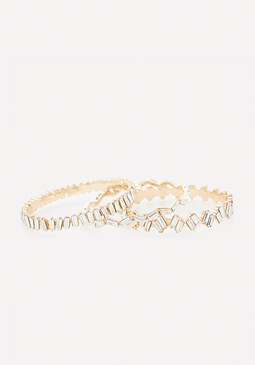 bebe Baguette Crystal Bangle Set