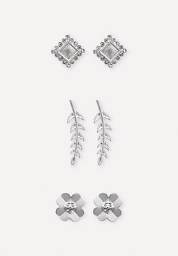 bebe Flower & Leaf Earring Set