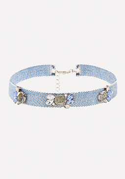 bebe Crystal Detail Denim Choker