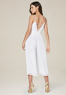 bebe Strappy Back Crop Jumpsuit