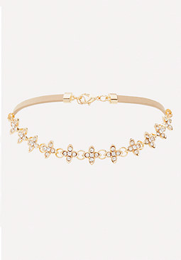 bebe Tiny Crystal Flower Choker
