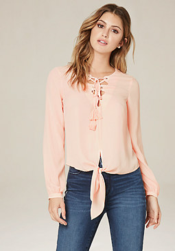 bebe Tie Front Lace Up Top