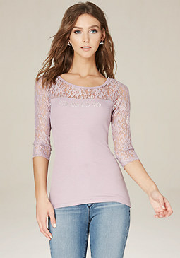 bebe Logo Lace Rib Knit Top