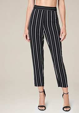 bebe Striped Tapered Leg Pants