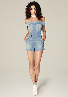 Denim Off Shoulder Romper