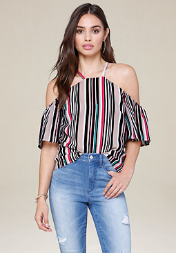 bebe Striped Flutter Sleeve Top