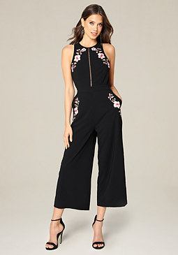 bebe Embroidered Crop Jumpsuit