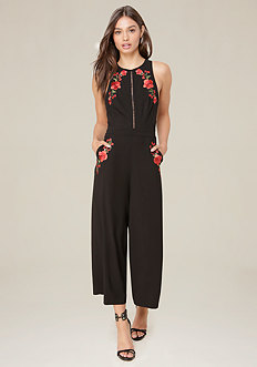 Embroidered Crop Jumpsuit