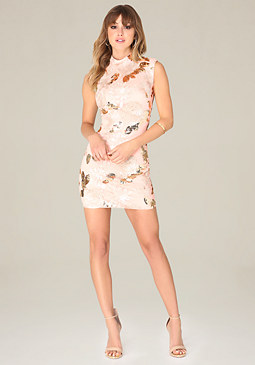 bebe Harley Sequin Floral Dress