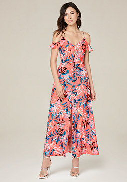 bebe Ruffle Shoulder Maxi Dress