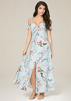 Ruffle Shoulder Maxi Dress