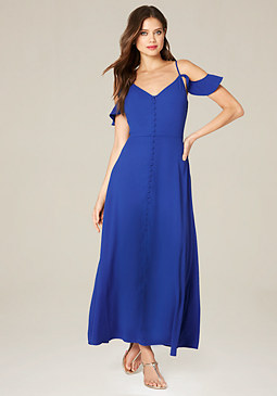 bebe Petite Button Up Maxi Dress