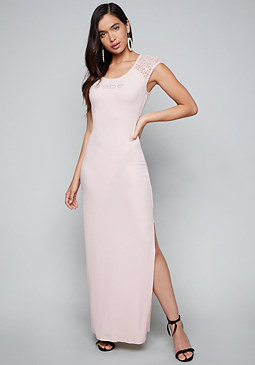 bebe Logo Scoopneck Maxi Dress