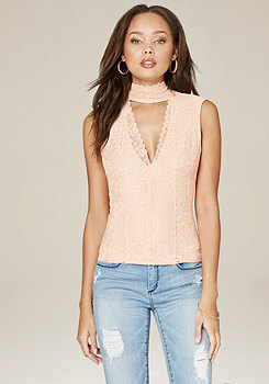 bebe Christina Lace Panel Top