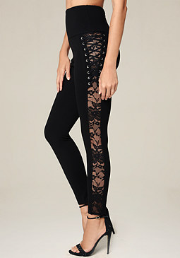 bebe Lace Up Tuxedo Leggings