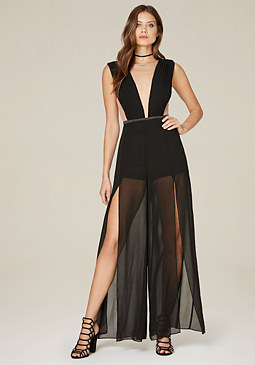 bebe Pleated High Slit Jumpsuit