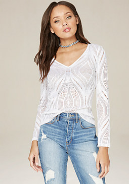 bebe Leafy Lace Top