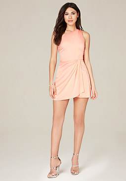 bebe One Shoulder Wrap Dress