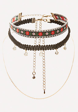 bebe Embroidered Choker Set
