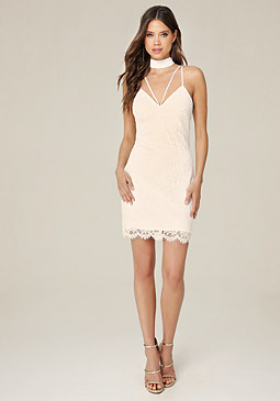 bebe Marina Lace Choker Dress