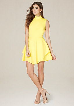 bebe Scuba Double Layer Dress