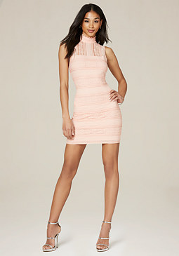 bebe Lace Panel Mock Neck Dress