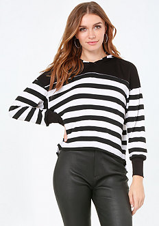 Striped Hoodie Top