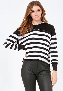 bebe Striped Hoodie Top