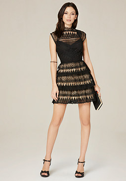 bebe Leigh Open Back Lace Dress