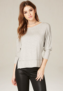 bebe Heathered Hi-Lo Top