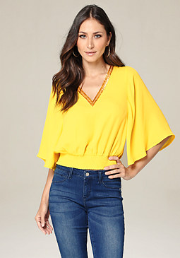 bebe Kristen Beaded V-Neck Top