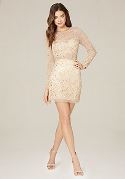 bebe Sparkle Mesh Net Dress