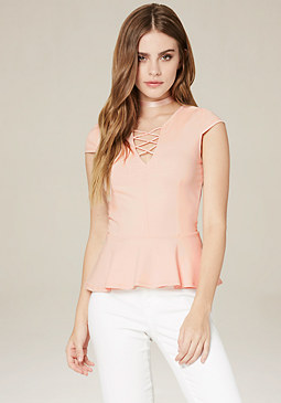 bebe Lace Up Front Peplum Top