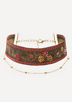 Flower & Chain Choker Set