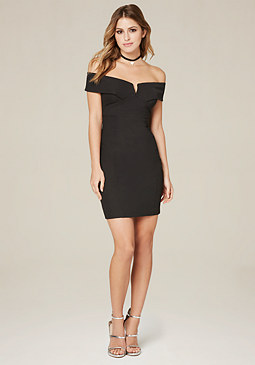 bebe Ackerly V-Notch Mini Dress