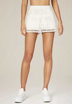 bebe Faux Leather Eyelet Shorts