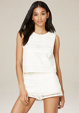 bebe Faux Leather Eyelet Top