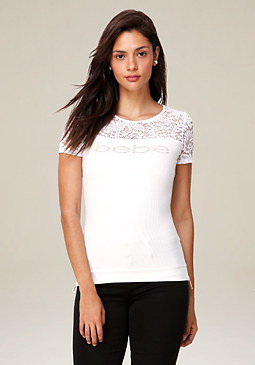 bebe Logo Rae Side Zip Tee