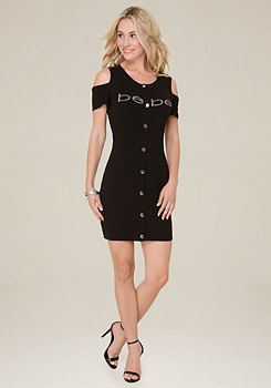 bebe Logo Renee Snap Mini Dress