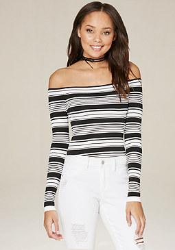 bebe Mix Stripe Bodysuit