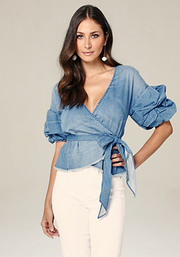 bebe Royal Denim Wrap Top