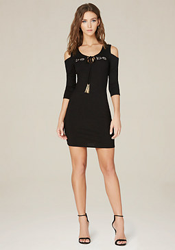 bebe Logo Annie Shoulder Dress