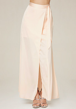 bebe Satin Wrap Maxi Skirt