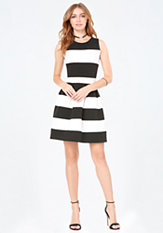 bebe Striped Fit & Flare Dress